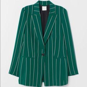 H&M Green Striped Blazer